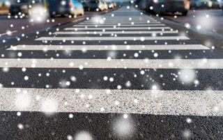 Snow on crosswalk